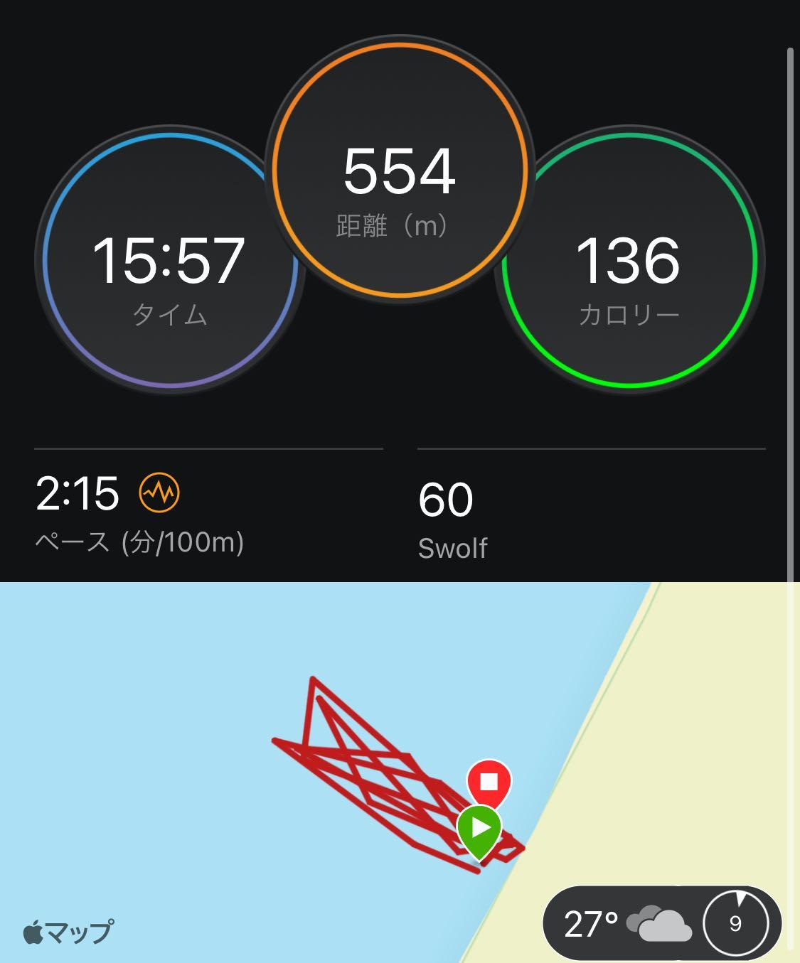 二色の浜 ランニングとOWS練習会 リレー 距離 時間