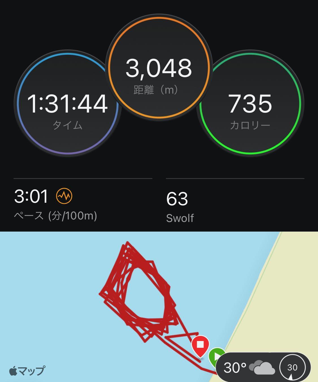 二色の浜 OWS練習会 ちょっと長距離スイムを・・・ スイム 距離 時間
