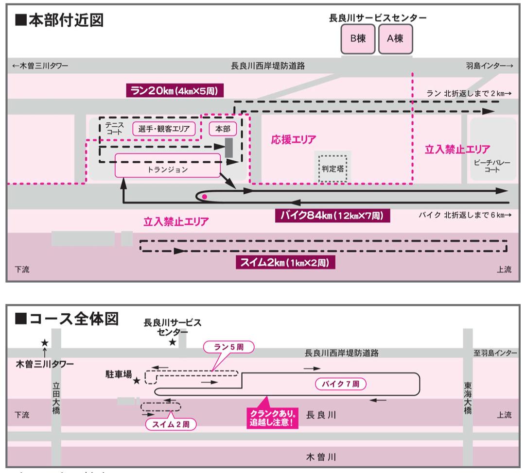 長良川トライアスロン コース図